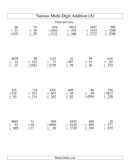 The Column Addition -- Three Various-Digit Numbers (All) Addition Worksheet