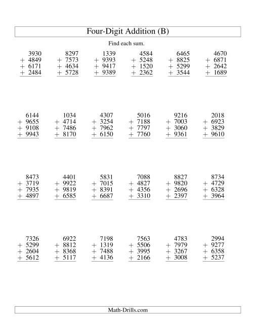 The Column Addition -- Four Four-Digit Numbers (B) Addition Worksheet