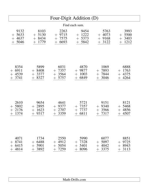 The Column Addition -- Four Four-Digit Numbers (D) Addition Worksheet