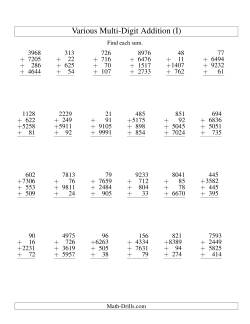 Column Addition -- Four Various-Digit Numbers (I)