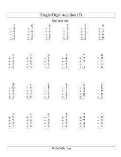 Column Addition -- Five One-Digit Numbers (F)