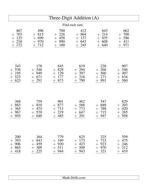 Column Addition Five ThreeDigit Numbers A Addition Worksheet – Column Addition Worksheet