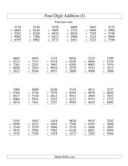 Column Addition -- Five Four-Digit Numbers (J)