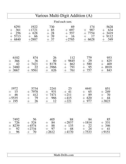 Column Addition Five VariousDigit Numbers A Addition Worksheet – Column Addition Worksheet