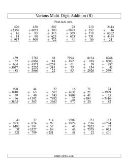 Column Addition -- Five Various-Digit Numbers (B)