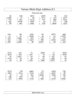 Column Addition -- Five Various-Digit Numbers (C)