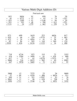 Column Addition -- Five Various-Digit Numbers (D)