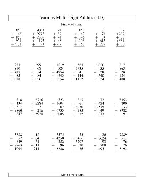 The Column Addition -- Five Various-Digit Numbers (D) Addition Worksheet