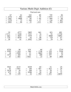 Column Addition -- Five Various-Digit Numbers (E)