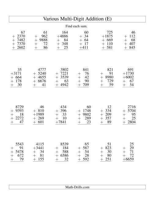 The Column Addition -- Five Various-Digit Numbers (E) Addition Worksheet