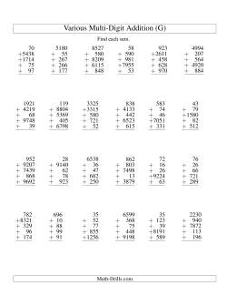 Column Addition -- Five Various-Digit Numbers (G)
