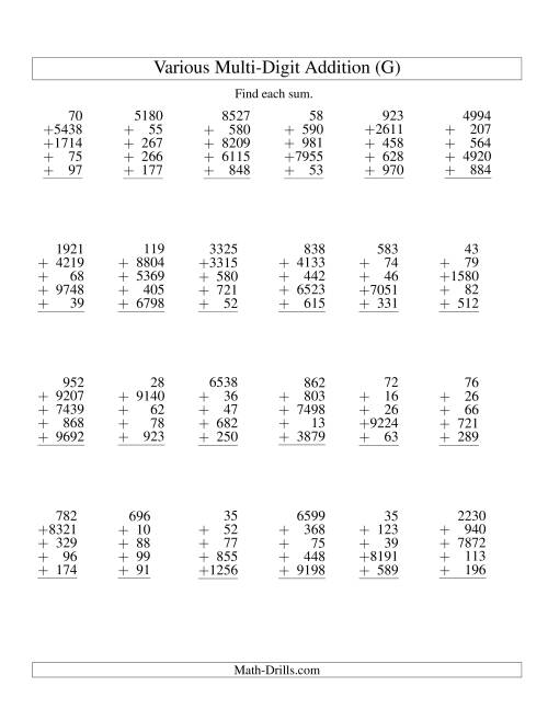 The Column Addition -- Five Various-Digit Numbers (G) Addition Worksheet