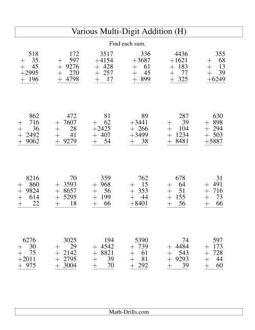 The Column Addition -- Five Various-Digit Numbers (H) Addition Worksheet