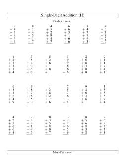 Column Addition -- Six One-Digit Numbers (H)