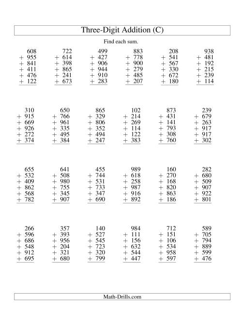 The Column Addition -- Six Three-Digit Numbers (C) Addition Worksheet