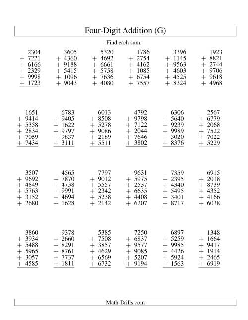 The Column Addition -- Six Four-Digit Numbers (G) Addition Worksheet