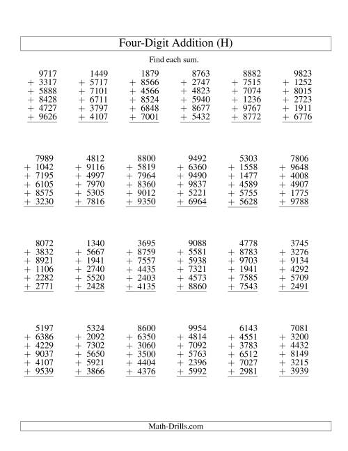 The Column Addition -- Six Four-Digit Numbers (H) Addition Worksheet