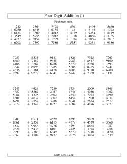 Column Addition -- Six Four-Digit Numbers (I)