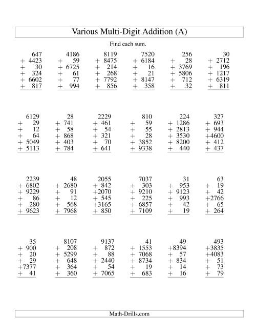 column addition six various digit numbers a addition worksheet. Black Bedroom Furniture Sets. Home Design Ideas