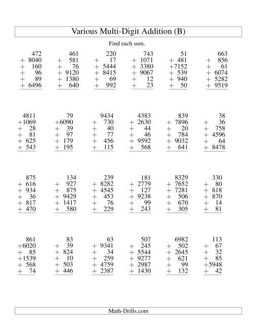 The Column Addition -- Six Various-Digit Numbers (B) Addition Worksheet