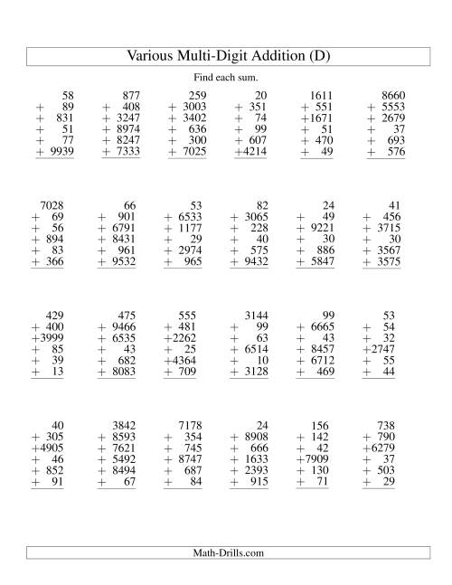 The Column Addition -- Six Various-Digit Numbers (D) Addition Worksheet