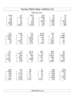Column Addition -- Six Various-Digit Numbers (E)