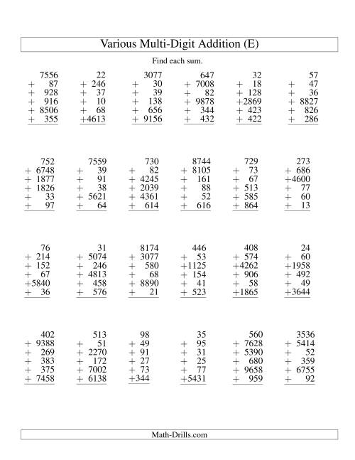 The Column Addition -- Six Various-Digit Numbers (E) Addition Worksheet