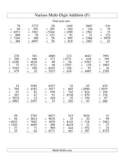 Column Addition -- Six Various-Digit Numbers (F)
