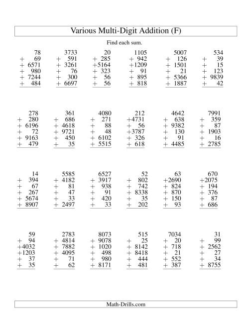 The Column Addition -- Six Various-Digit Numbers (F) Addition Worksheet