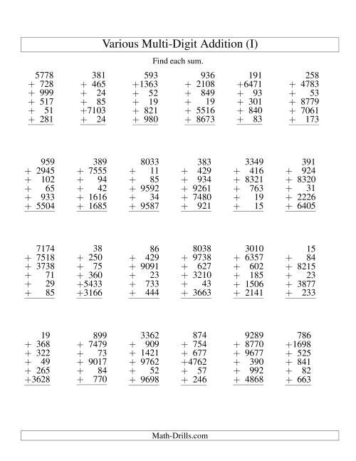 The Column Addition -- Six Various-Digit Numbers (I) Addition Worksheet