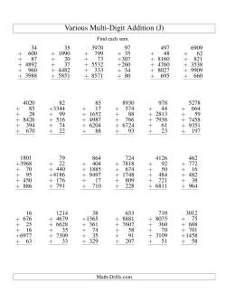 Column Addition -- Six Various-Digit Numbers (J)