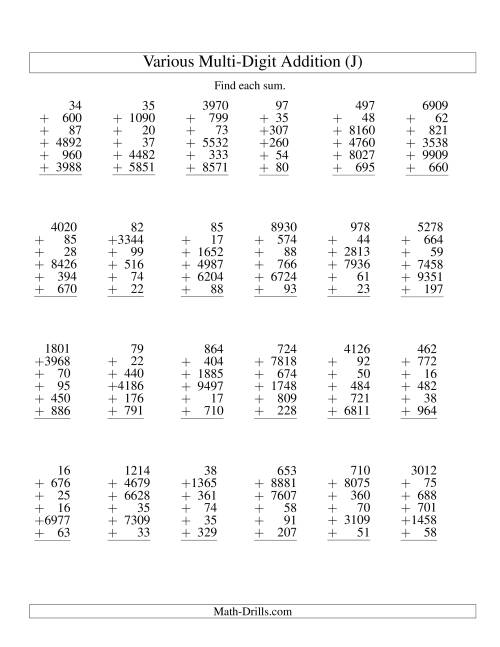 The Column Addition -- Six Various-Digit Numbers (J) Addition Worksheet