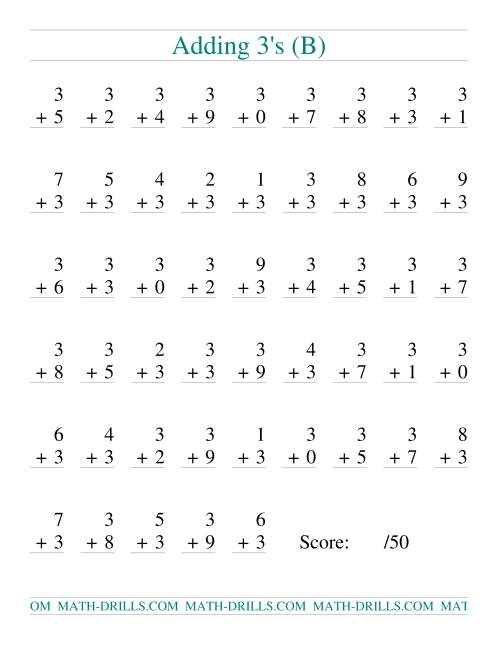 The Single Digit Addition -- 50 Vertical Questions -- Adding Threes (B) Addition Worksheet