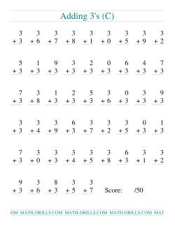 Single Digit Addition -- 50 Vertical Questions -- Adding Threes (C)