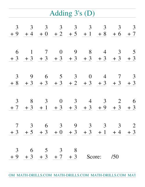 The Single Digit Addition -- 50 Vertical Questions -- Adding Threes (D) Addition Worksheet
