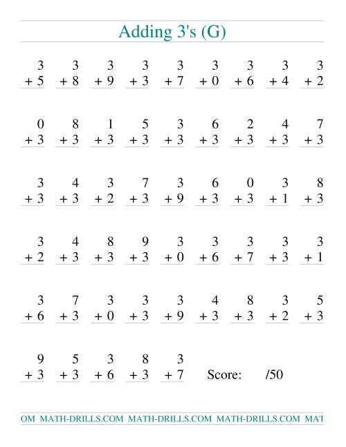 The Single Digit Addition -- 50 Vertical Questions -- Adding Threes (G) Addition Worksheet