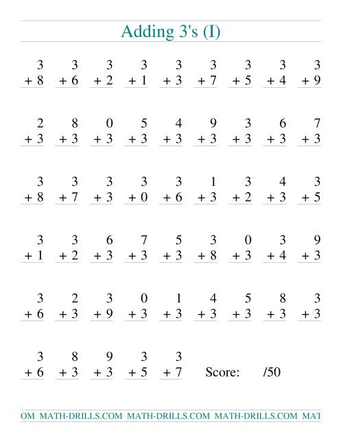 The Single Digit Addition -- 50 Vertical Questions -- Adding Threes (I) Addition Worksheet