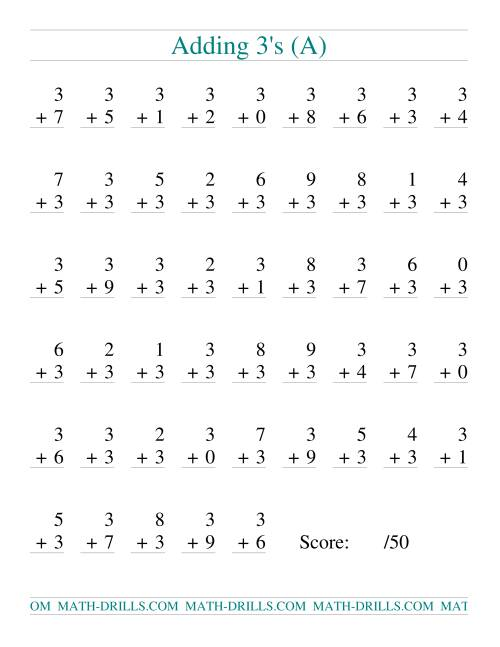 The Single Digit Addition -- 50 Vertical Questions -- Adding Threes (All) Addition Worksheet
