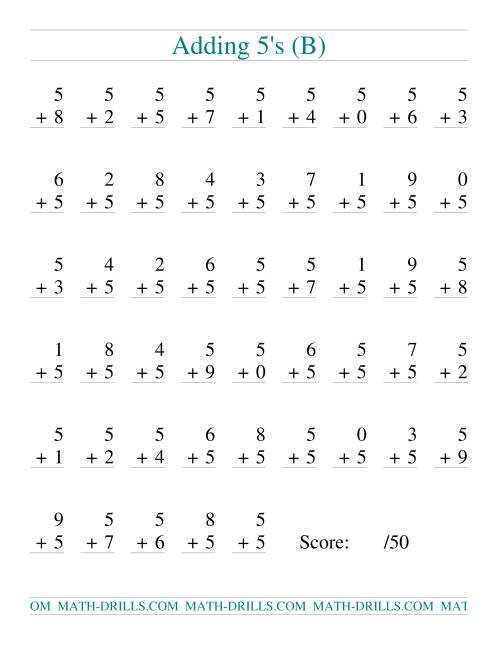 The Single Digit Addition -- 50 Vertical Questions -- Adding Fives (B) Addition Worksheet