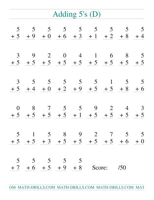 The Single Digit Addition -- 50 Vertical Questions -- Adding Fives (D) Addition Worksheet