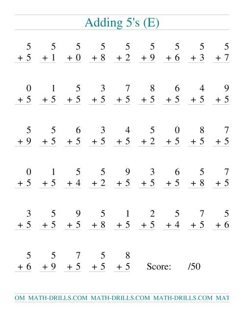 The Single Digit Addition -- 50 Vertical Questions -- Adding Fives (E) Addition Worksheet