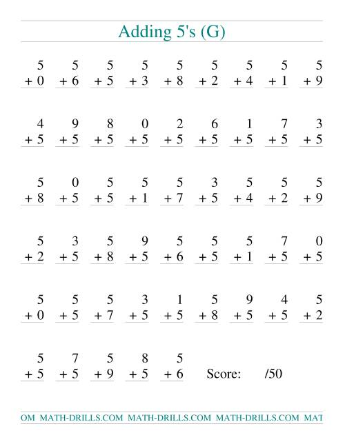 The Single Digit Addition -- 50 Vertical Questions -- Adding Fives (G) Addition Worksheet