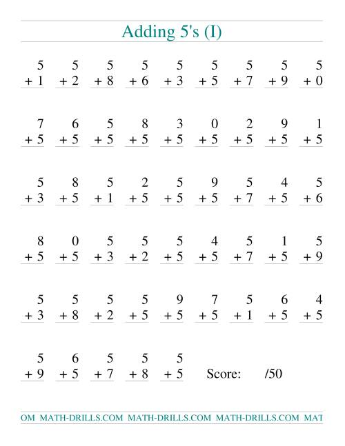 The Single Digit Addition -- 50 Vertical Questions -- Adding Fives (I) Addition Worksheet