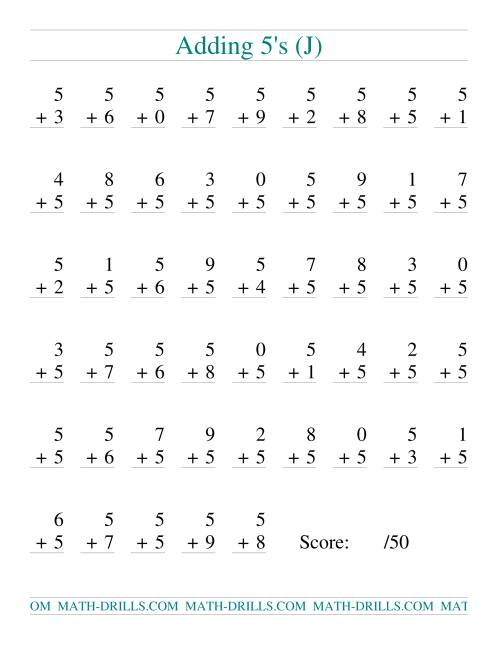The Single Digit Addition -- 50 Vertical Questions -- Adding Fives (J) Addition Worksheet