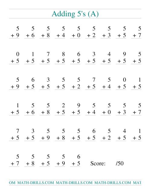The Single Digit Addition -- 50 Vertical Questions -- Adding Fives (All) Addition Worksheet