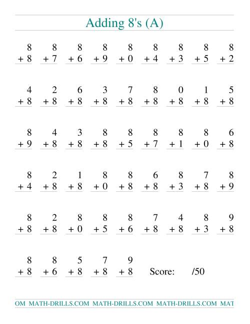 The Single Digit Addition -- 50 Vertical Questions -- Adding Eights (A) Addition Worksheet