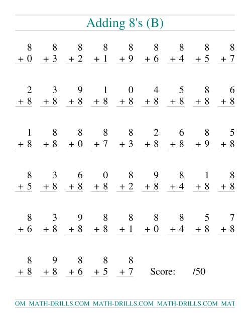 The Single Digit Addition -- 50 Vertical Questions -- Adding Eights (B) Addition Worksheet