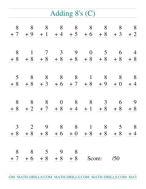 The Single Digit Addition -- 50 Vertical Questions -- Adding Eights (C) Addition Worksheet