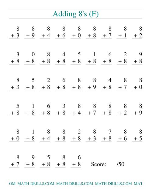 The Single Digit Addition -- 50 Vertical Questions -- Adding Eights (F) Addition Worksheet