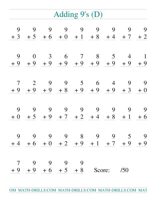 The Single Digit Addition -- 50 Vertical Questions -- Adding Nines (D) Addition Worksheet